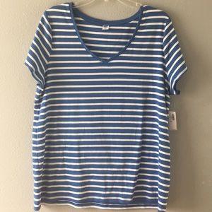 NWT-Old Navy-Powder Blue/white stripe Knit Top-XXL
